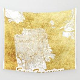 San Francisco Map Gold Wall Tapestry