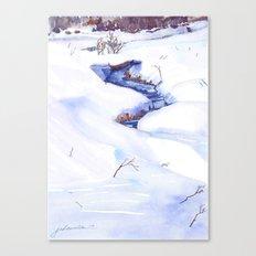 Open Stream In Winter Canvas Print