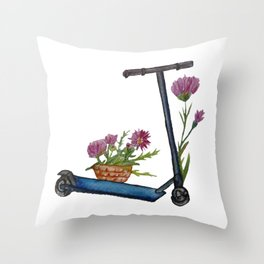 Push Scooter & Flowers Throw Pillow
