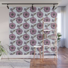 Graphic purple daisy flower pattern Wall Mural