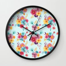 Fresh // Spring Floral Repeat Pattern Wall Clock