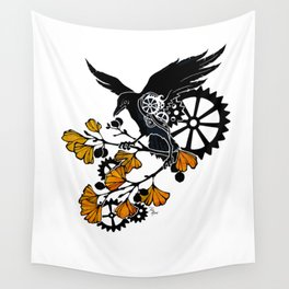 Raven and Ginkgo - Autumn Cycle Wall Tapestry
