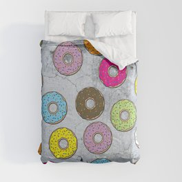 Concrete & Colorful Donuts Pattern Comforters