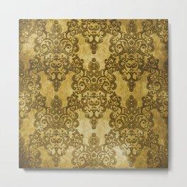 Gold Mustard Yellow Big Damask Pattern Metal Print
