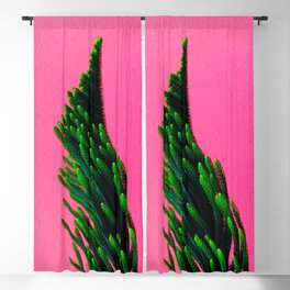 Green Plant on Pink Background Blackout Curtain