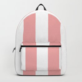 Large Blush Pink and White Beach Hut Stripes Backpack