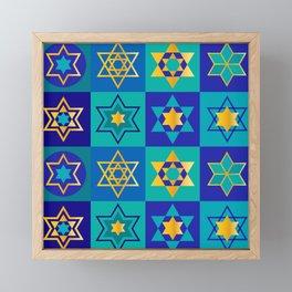 Hanukkah Star Of David Contemporary, Sophisticated Pattern Framed Mini Art Print
