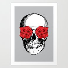 Skull and Roses   Grey and Red Art Print