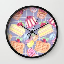 Desserts Pattern Cute Sweet Tooth Colorful Cupcakes Donuts Cakes Cookies Wall Clock