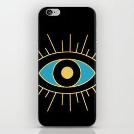 Black and Teal Evil Eye iPhone Skin