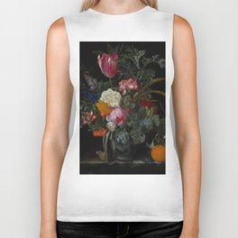 "Maria van Oosterwijck ""Roses, a parrot tulip, carnations, ears of wheat, hyacinths and other flowers Biker Tank"
