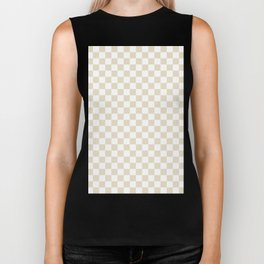 Small Checkered - White and Pearl Brown Biker Tank