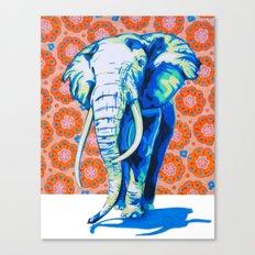 Elephant with Hippie Flowers Canvas Print