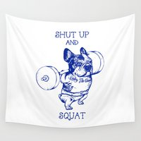 frenchie Wall Tapestries featuring Frenchie Squat by Huebucket