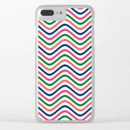 The Wave:  Kelly Green, Coral, Blue, Fuchsia Clear iPhone Case