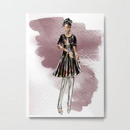 SATURDAY NIGHT (maroon watercolor splash) Metal Print