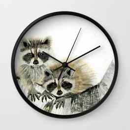 Curious Cubs - raccoons, animals, wildlife, nature Wall Clock