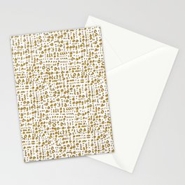 Trendy Yellow Doodle and Abstract Drawn Cryptic Stationery Cards