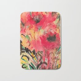 Abstract Poppy Watercolor Bath Mat