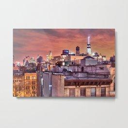 Manhattan Rooftops at Night Metal Print