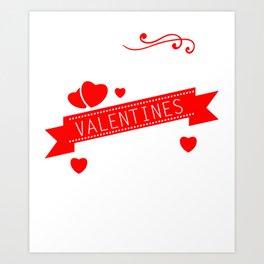 Happy Valentines Day Romance Hearts Cupids Saint Valentines Gift Art Print