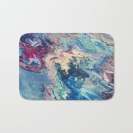 Blue swirl pour painting, Bohemian Style painting Bath Mat