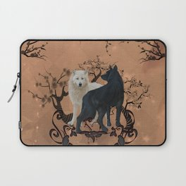 Awesome wolf in black and white Laptop Sleeve