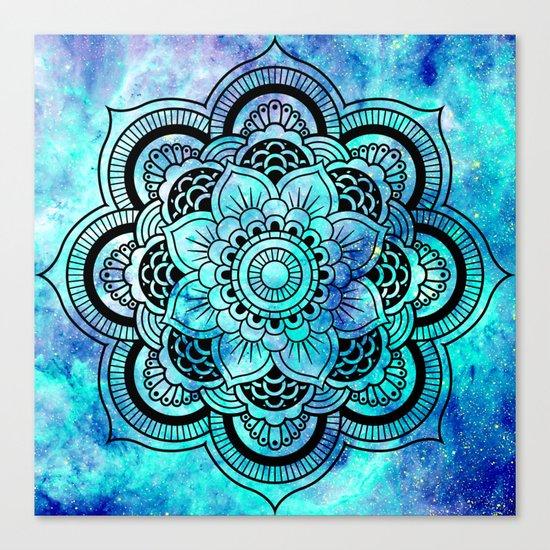 Galaxy Mandala Aqua Indigo Canvas Print
