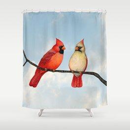 cardinal couple Shower Curtain