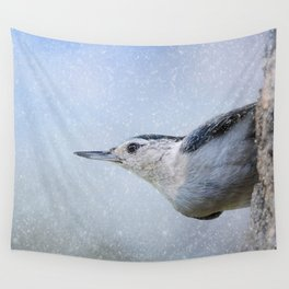 Nuthatch In The Snow Wall Tapestry