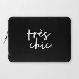 Tres Chic black and white modern french typography quote poster canvas wall art home decor Laptop Sleeve