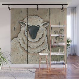 White Sheep by Donna Atkins Wall Mural