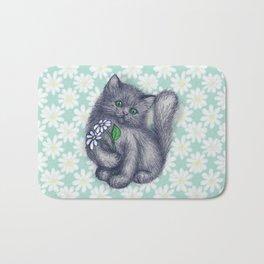 Cute Kitten with Daisies Bath Mat