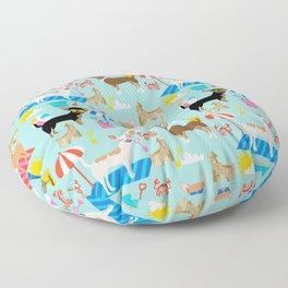 Miniature Doberman Pinscher dog beach day summer fun dog lover min pin Floor Pillow
