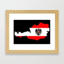 Austrian Flag and Map Framed Art Print