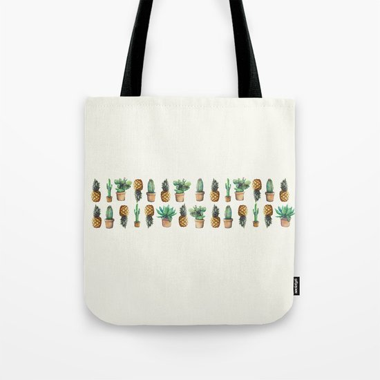 cactus and pineapples line 2 Tote Bag