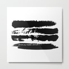 Abstract black brush strokes on white background, monochrome. Print. Metal Print