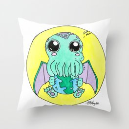 Nom Nom! Cute-thulu Throw Pillow