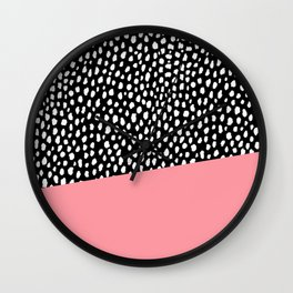 Handmade Polka Dot Brush Spots with Pink Stripe Wall Clock