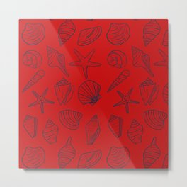 Red and blue seashells pattern Metal Print