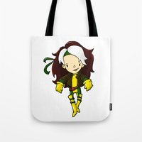 rogue Tote Bags featuring ROGUE by Space Bat designs