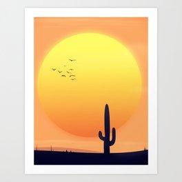 Desert Landscape setting sun. Art Print