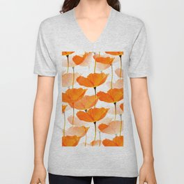 Orange Poppies On A White Background #decor #society6 #buyart Unisex V-Neck