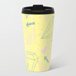 Memphis Pattern - Gemetrical  Retro Art in Yellow and Pink - Mix & Match With Simplicity Of Life Travel Mug