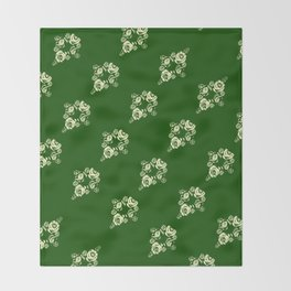 Canalflowers on green pattern Throw Blanket