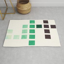Colorful Teal Turquoise Deep Green Mid Century Modern Minimalist Square Geometric Pattern Rug