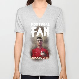 Portugal Fan in World Cup 2018 Russia T-Shirt and Apparel - Christiano Ronaldo  Epic Illustration Unisex V-Neck