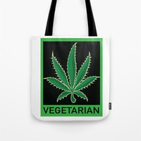 vegetarian Tote Bags featuring Vegetarian Marijuana Leaf by BudProducts.us