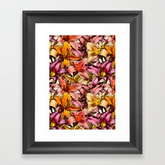 Daylily Drama - a floral illustration pattern Framed Art Print