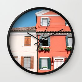 Coral house of Burano, Venice Italy - Colorful house - Burano, Rome Art Print Wall Clock